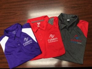 Custom embroidered Cybern Company Polos