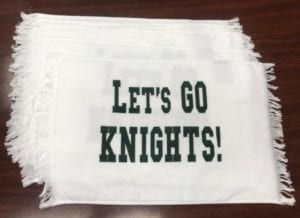 Screenprinted terry spirit towels for Century High School