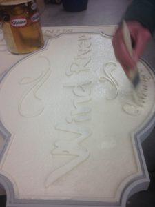 Primer Coat on HDU Sign Foam for WInd River