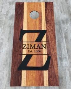 Wood Look Cornhole Boards for Ziman Family